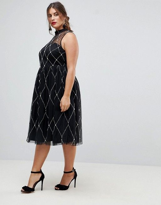 ASOS Curve High Neck Pearl Embellished Midi Prom Dress