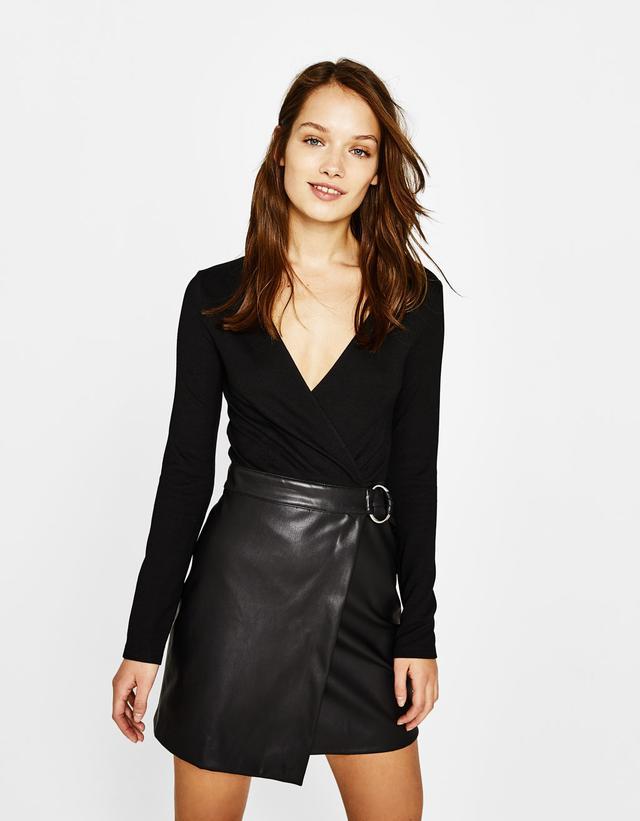 Bershka Faux Leather Skirt Combo Dress