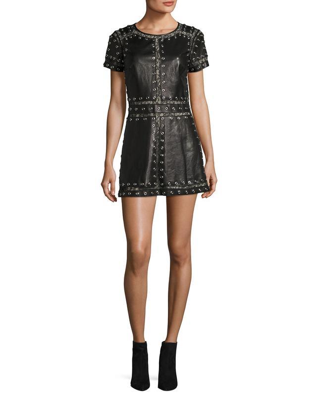 Alice + Olivia Tahlia Short-Sleeve Studded Leather A-Line Mini Cocktail Dress