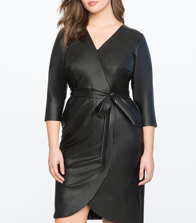Eloquii Faux Leather Wrap Dress