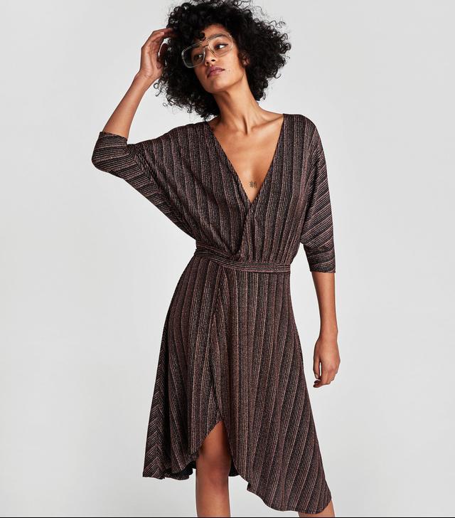 Zara Shimmery Crossover Dress