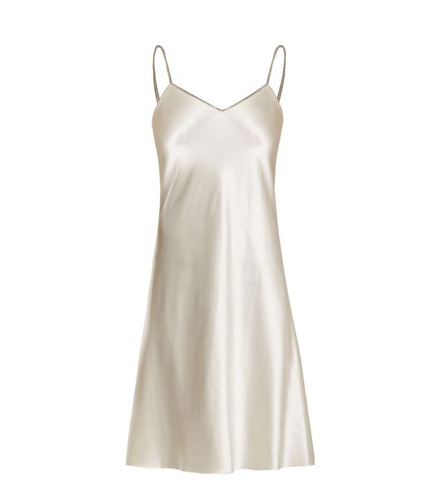 Helmut Lang Decorative-Zip Silk-Satin Slip Dress