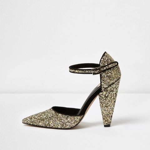 Gold Glitter Two-Part Cone-Heel Pumps
