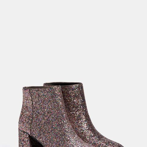 Shiny Mid-Heel Ankle Boots