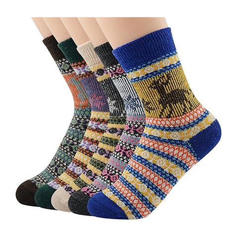 Winter Wool Quarter Knit Thick Warm Chunky Deer Socks