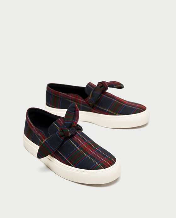 Zara Checked Fabric Sneaker With Bow