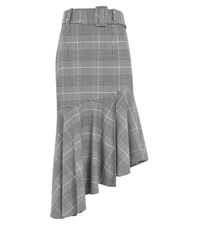 Topshop Check Belted Asymmetric Midi Skirt
