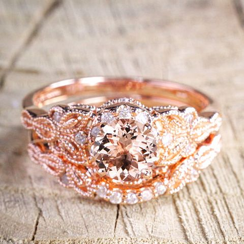 Round Cut Morganite and Diamond Halo Bridal Wedding Ring Set