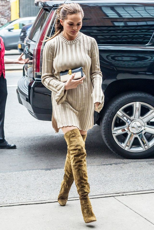 day to night outfit - chrissy teigen over the knee boots