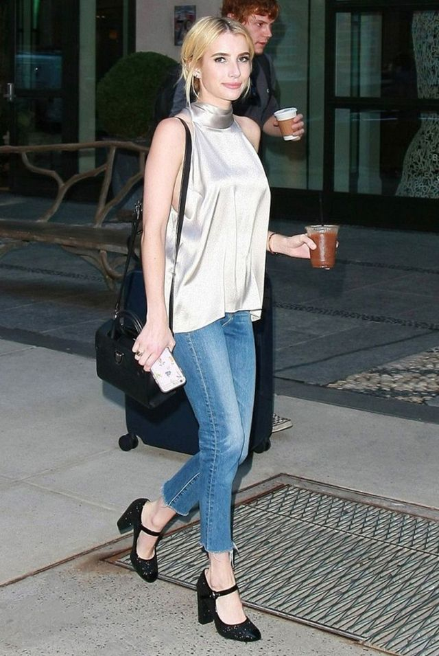 day to night outfit - emma roberts silk top