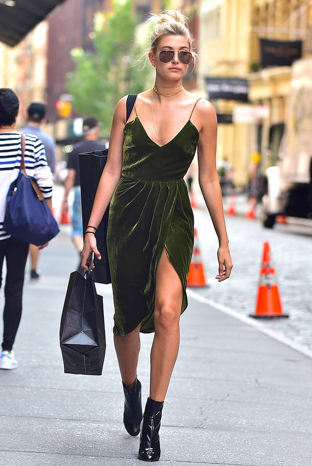 day to night outfit - hailey baldwin velvet dress