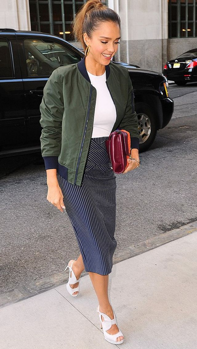 day to night outfit - jessica alba bomber jacket