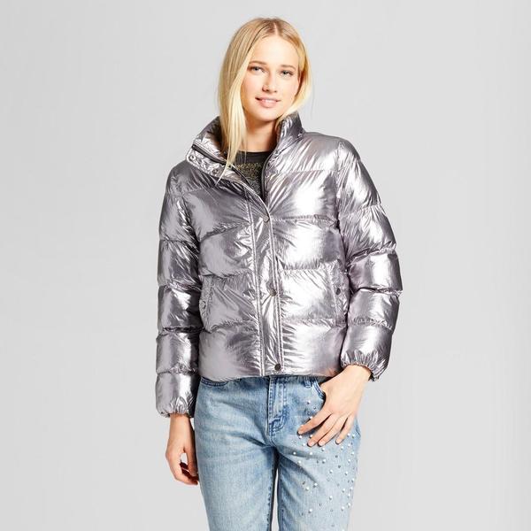 Boxy Metallic Puffer Jacket