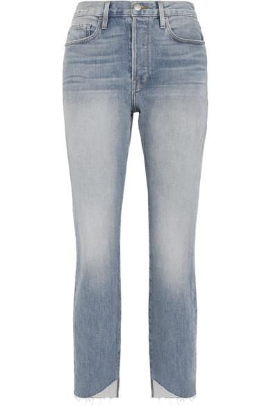 Le Original Reverse Cascade Distressed High-rise Straight-leg Jeans
