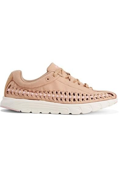 Mayfly Woven Faux Leather-trimmed Faux Suede Sneakers