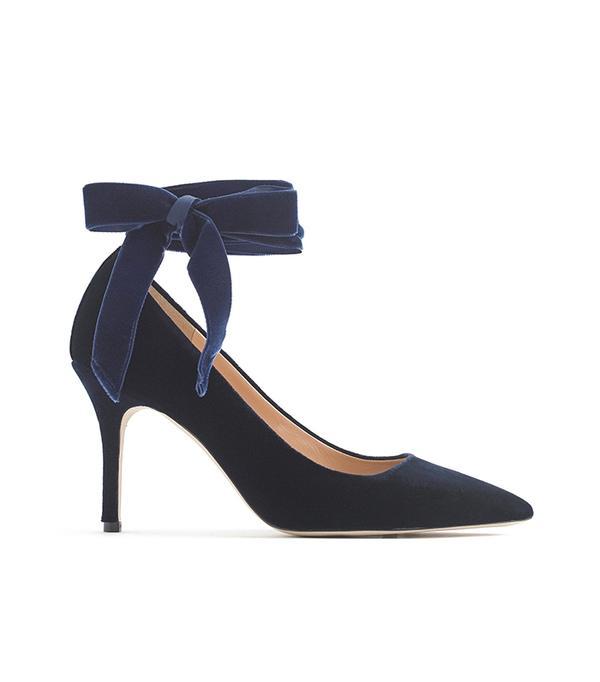 Elsie velvet ankle-wrap pumps