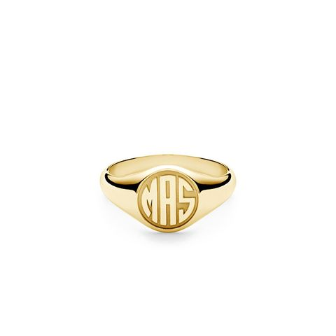 Signet Ring, 14K Gold/3 Letter