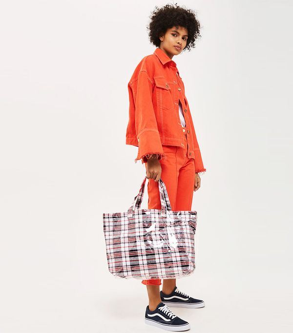 MARTY Check Unlined Tote Bag