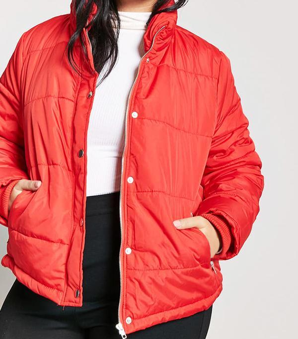 Plus Size Zip-Up Puffer Jacket