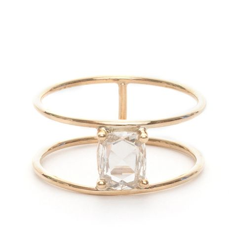 Rectangle Cushion Cut Diamond Double Band Ring