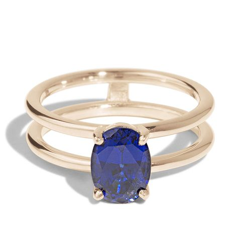 Custom Double Band Sapphire Ring