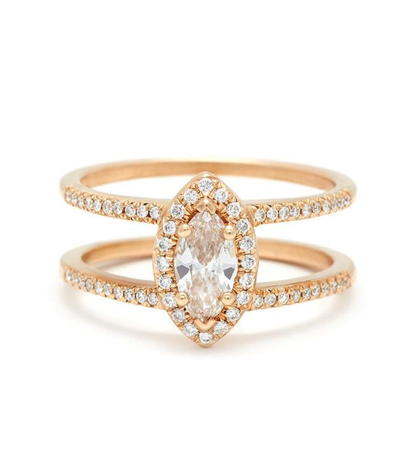 Anna Sheffield Attelage Pavé Marquise Cut Ring in Yellow Gold and White Diamond