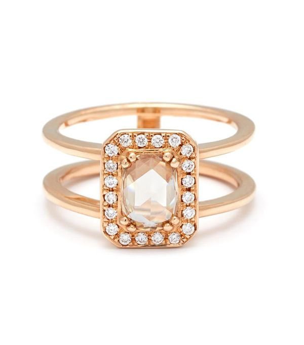 Anna Sheffield Attelage Ring in Yellow Gold and Rose Cut Champagne Diamond