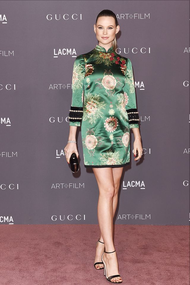 On Behati Prinsloo: Gucci dress andPatent Leather Sandals($730)