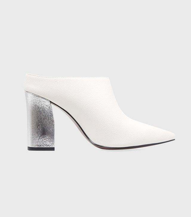Who What Wear Trisha Pointed Toe Silver Heel Mules
