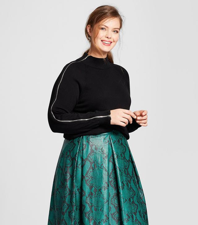 Who What Wear Long-Sleeve Zip Turtleneck Sweater
