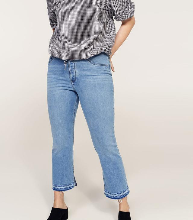 Side slit slim jeans