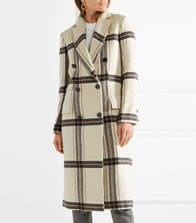 Gritt Double-breasted Plaid Brushed-felt Coat