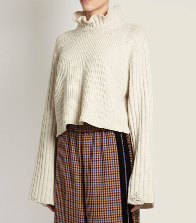 Malia fluted-collar ribbed-knit wool sweater