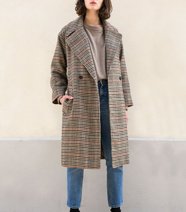 The Frankie Shop Camel Multi Houndstooth Coat