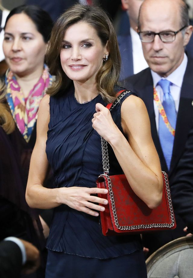 On Queen Letizia: Zara Laser Cut Leather Crossbody Bag ($119, sold out)