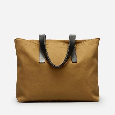 Twill Zip Tote Bag in Ochre