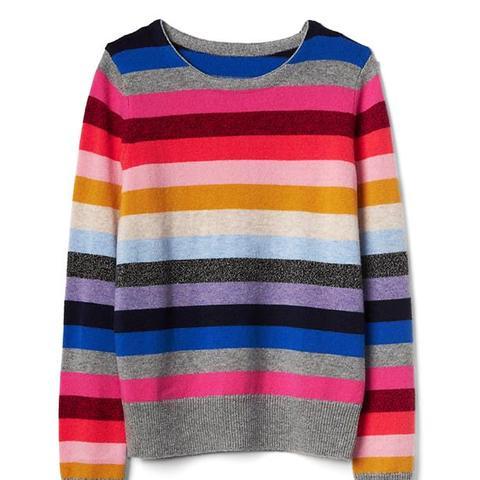 Metallic Crazy Stripe Crewneck Sweater