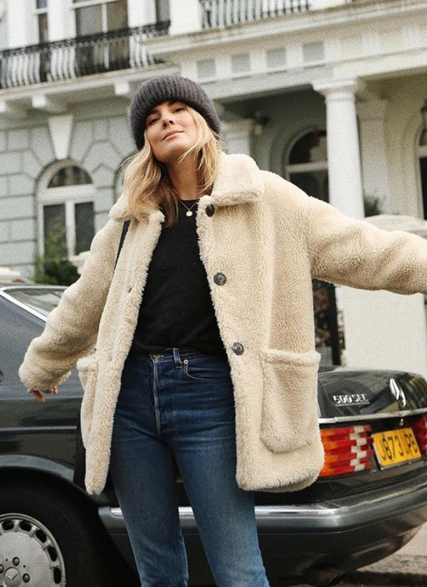 Style Notes: Lucy Williams' Mango shearling coat is no longer available, but there is another verysimilar versiondiscounted this weekend.