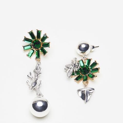 Lapford Mis-match Emerald Bee & Twig Earrings