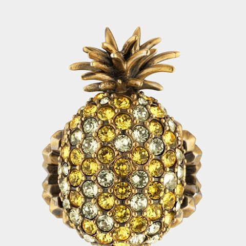 Crystal Studded Pineapple Ring in Metal
