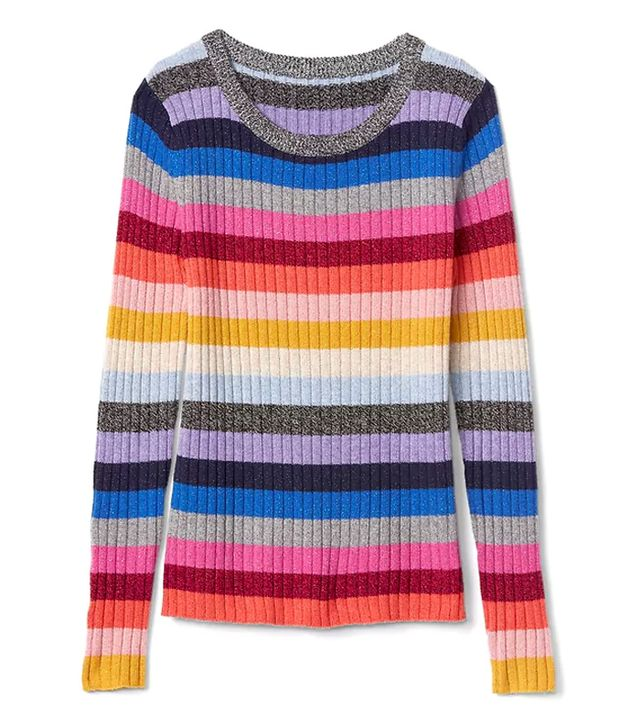 Gap Metallic Crazy Stripe Crewneck Sweater