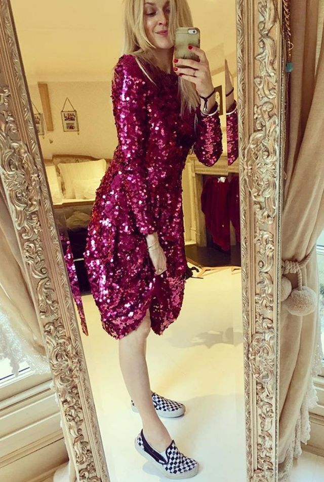 On Fearne Cotton: L.K.Bennett Sonic Dark Pink Dress (£550)