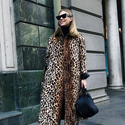 what to wear in December: Tine Andrea in a leopard print coat