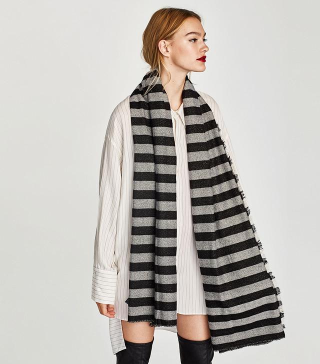 Zara Shimmery Striped Scarf