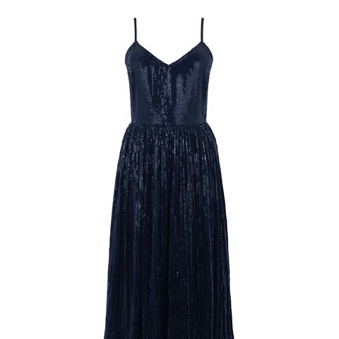 Pleated Sequin Cami Dress
