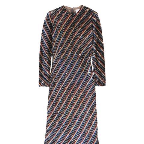 Striped Sequined Silk-Georgette Dress