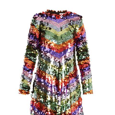 Chevron-Striped Sequin-Embellished Mini Dress