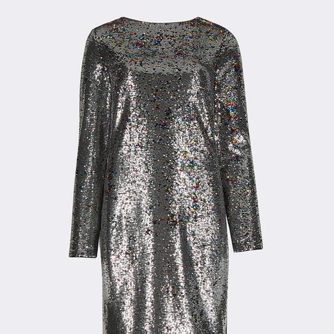 Sequin Long Sleeve Shift Dress