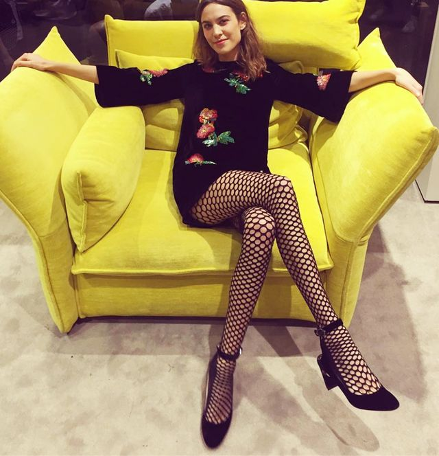 Alexa Chung fishnet tights