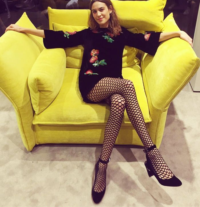 Alexa Chung fishnet tights